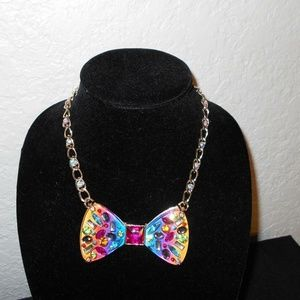 Betsey Johnson RAINBOW BOW TIE NECKLACE